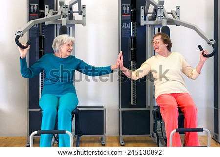 Smiling Elderly Ladies Exercising Using Chest Press Equipment While Touching their Palms and Looking Each Other. - stock photo