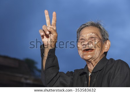 Smiling elderly people on countryside thailand  - stock photo