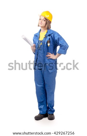 smiling engineer or architect female in yellow helmet and blue workwear with blueprints isolated on white background