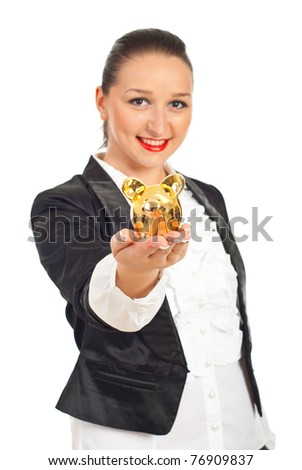 Smiling executive woman giving golden piggy bank  isolated on white background