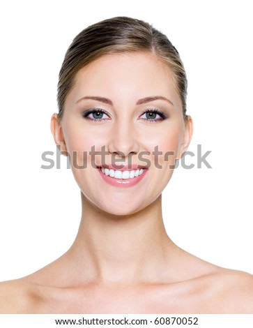 Smiling face of a beautiful woman with health whitest teeth - stock photo