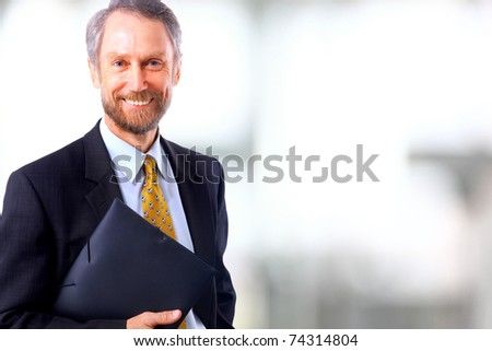 Smiling face of senior man - stock photo