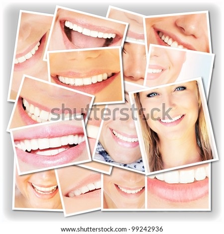 Smiling faces collage, happy young girls laughing, close up on beautiful healthy female lips and teeth, dental care concept - stock photo