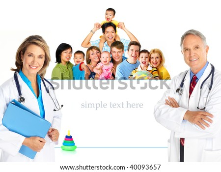 Smiling family medical doctors and young families. Over white background - stock photo