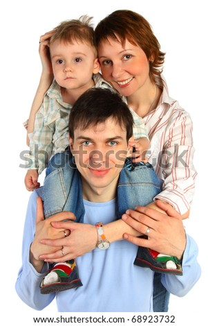 smiling family - mother, father and child isolated on white
