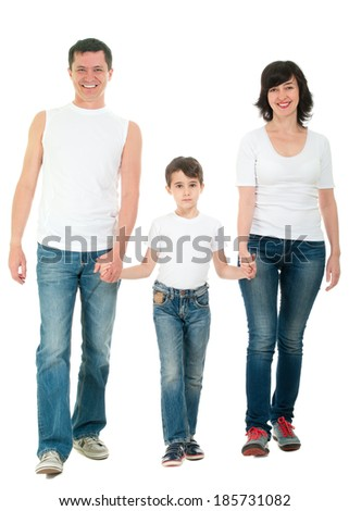 Smiling family walking in jeans full body holding hands isolated on white - stock photo
