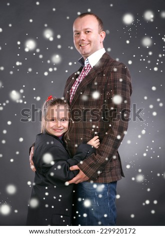 Smiling  father and daughter. Christmas and holidays concept  - stock photo