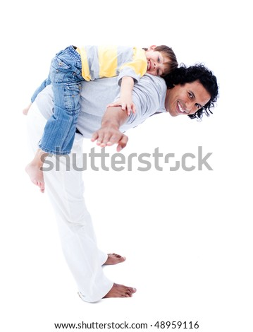 Smiling father and his son playing together isolated on a white background - stock photo