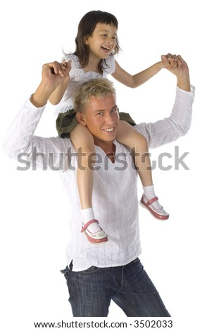 Smiling father with daughter on arms. Isolated on white in studio. Looking at camera - stock photo