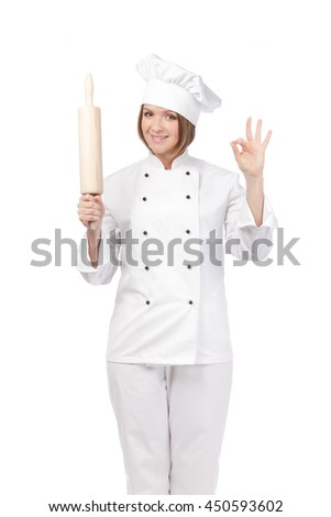 smiling female chef, cook or baker with rolling pin showing an okay sign isolated on white background. proposing service. advertisement gesture