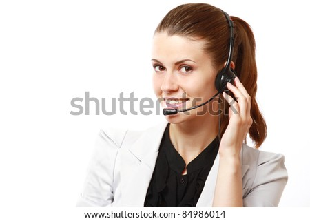 Smiling female customer service operator consulting somebody isolated on white background