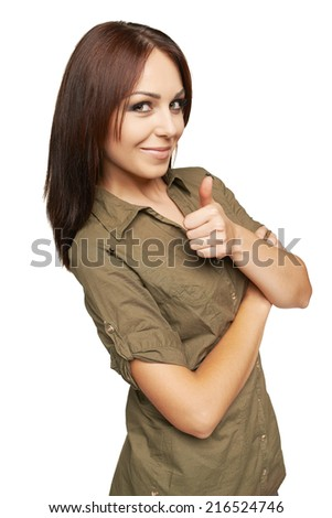 Smiling female giving you thumb up over white background - stock photo