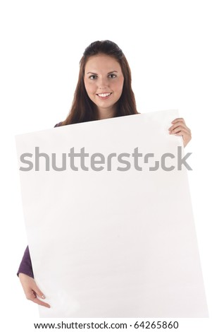 Smiling female holding big blank sign (isolated) - stock photo