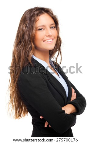 Smiling female manager portrait - stock photo