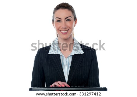 Smiling female secretary at work