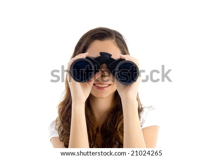 smiling female watching through binocular against white background - stock photo