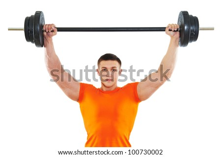 Smiling fitness bodybuilder man at arm muscles exercises with training dumbbells weight isolated on white - stock photo