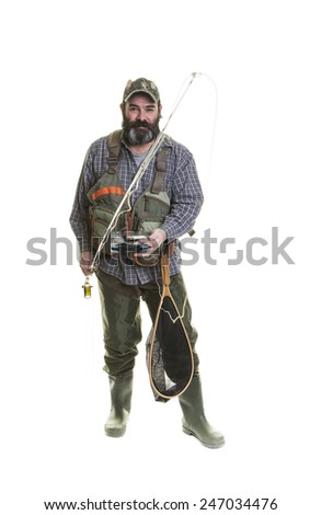 Smiling fly fisherman with a beard on a white background. - stock photo