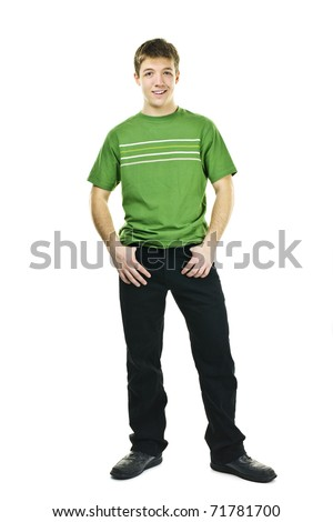 Smiling friendly young man full body standing isolated on white background