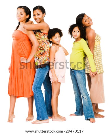 Smiling friends standing together and posing isolated over white - stock photo