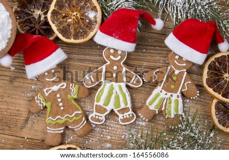Smiling gingerbread men, christmas decoration