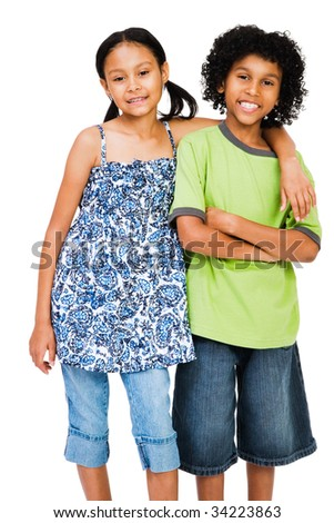 Smiling girl and boy standing together isolated over white