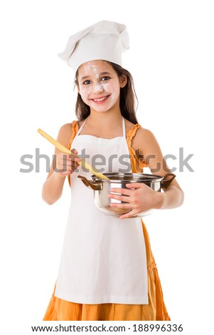 Smiling girl as cook with pot and ladle, isolated on white - stock photo
