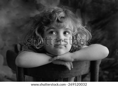 Smiling girl . B&W. - stock photo
