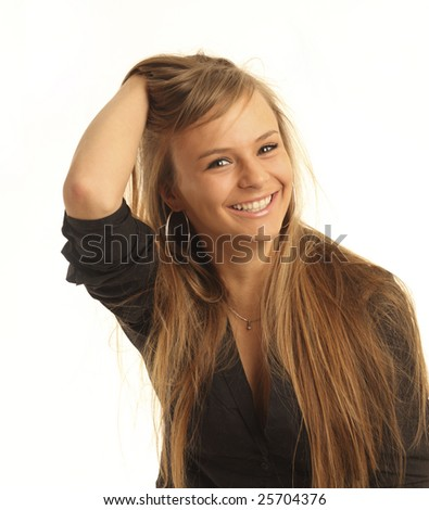 smiling girl is isolated on a white background