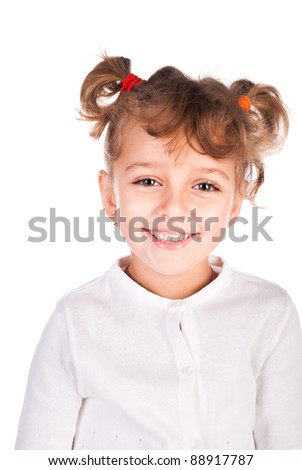 smiling girl isolated on a white background - stock photo