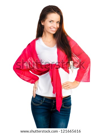 smiling girl looking at the camera on a white background - stock photo