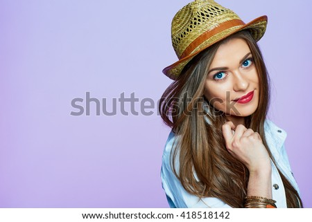 Smiling girl portrait in fashion life style look. Beautiful woman portrait isolated. - stock photo