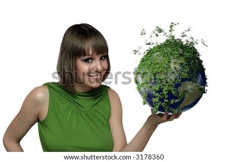 smiling girl portrait with green earth planet at the hand - stock photo