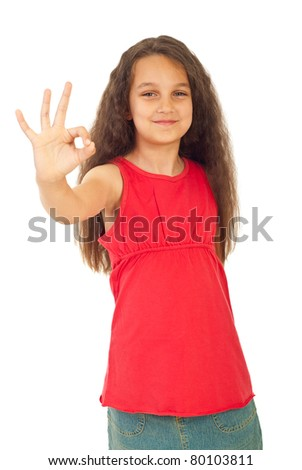 Smiling girl showing okay sign hand isolated on white background - stock photo