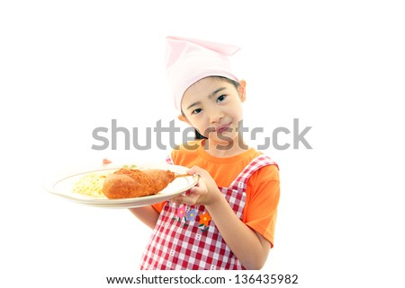 Smiling girl with food - stock photo