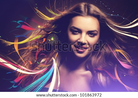 smiling girl with long hair and rainbow lines - stock photo