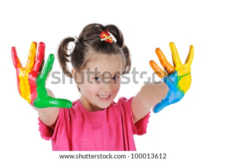 Smiling girl with painted palms - stock photo