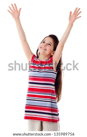 Smiling girl with raised hands, isolated on white - stock photo