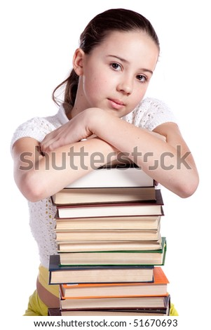 Smiling Girl with Stack of Books - stock photo
