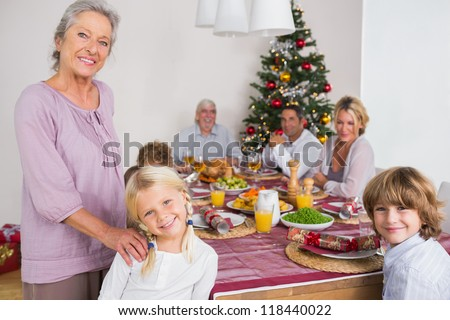 Smiling grandmother and granddaughter standing beside the dinner table at christmas - stock photo