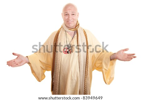 Smiling guru with open arms over white background - stock photo