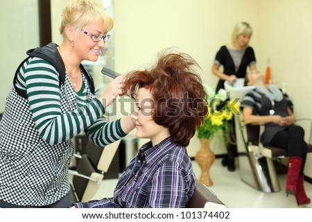 Smiling hairdresser makes hair styling for woman by rake-comb in beauty salon; focus on client; other barber washes second client head - stock photo