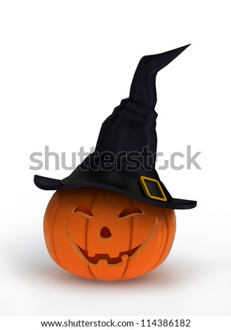 smiling halloween pumpkin dressed in magical witch hat - stock photo