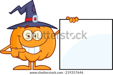 Smiling Halloween Pumpkin With A Witch Hat Mascot Character Showing A Blank Sign. Raster Illustration