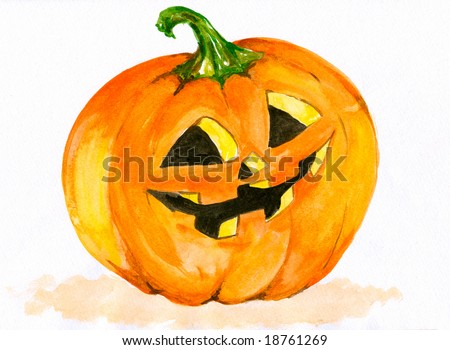 Smiling halloween pumpkin with green lock on head.Picture I have painted myself with watercolors.