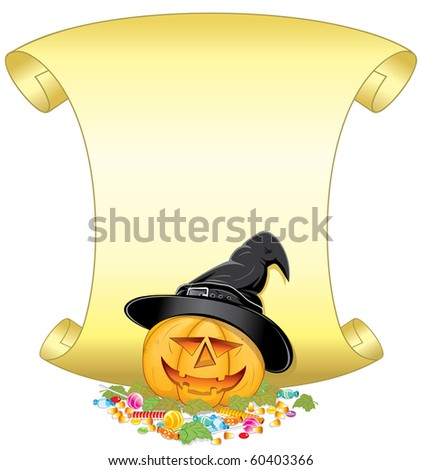 Smiling Halloween Pumpkin with hat, candies, autumn leafs and golden scroll-for your own greeting text. (version vector id=60401755) - stock photo