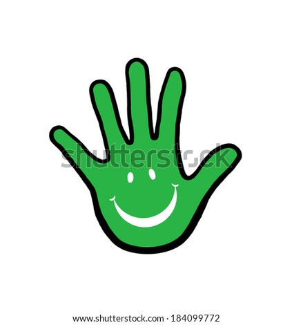 Smiling hand illustration; Isolated hand