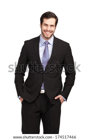 smiling handsome businessman in a black suit  - stock photo