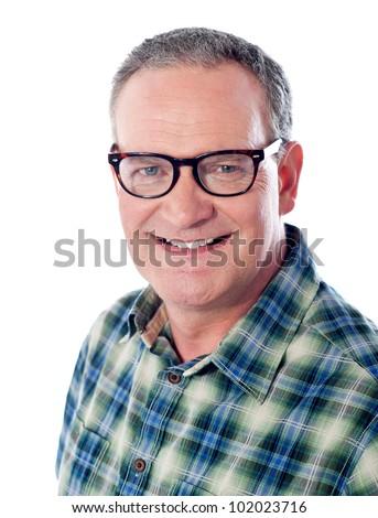 Smiling handsome man portrait. Senior male. - stock photo