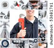 Smiling handsome plumber with an adjustable wrench - stock photo